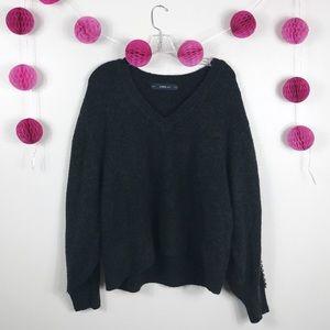 Zara Knit Sweater Chunky Embroidered Dark Gray M